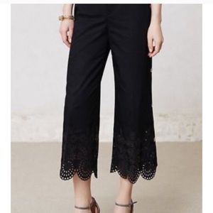 Anthropology Black cropped crochet pants